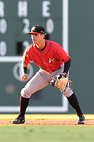 Shortstop Mitch Roman (10) of the Kannapolis Intimidators plays defense in a game against the Greenville Drive on Wednesday, July 12, 2017, at Fluor Field at the West End in Greenville, South Carolina. Greenville won, 12-2. (Tom Priddy/Four Seam Images)