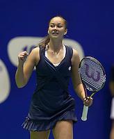16-12-11, Netherlands, Rotterdam, Topsportcentrum,   Lesley Kerkove bald haar vuist, zij verslaat Rus en staat in de finale