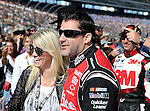 Sprint Cup Series driver Tony Stewart (14) is waiting for the driver introductions before the NASCAR Sprint Cup Series AAA Texas 500 race at Texas Motor Speedway in Fort Worth,Texas. Sprint Cup Series driver Jimmie Johnson (48) wins the AAA Texas 500 race.