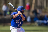 Mike Vigliarolo (42) of the Saint Louis Billikens at bat against the Davidson Wildcats at Wilson Field on March 28, 2015 in Davidson, North Carolina. (Brian Westerholt/Four Seam Images)