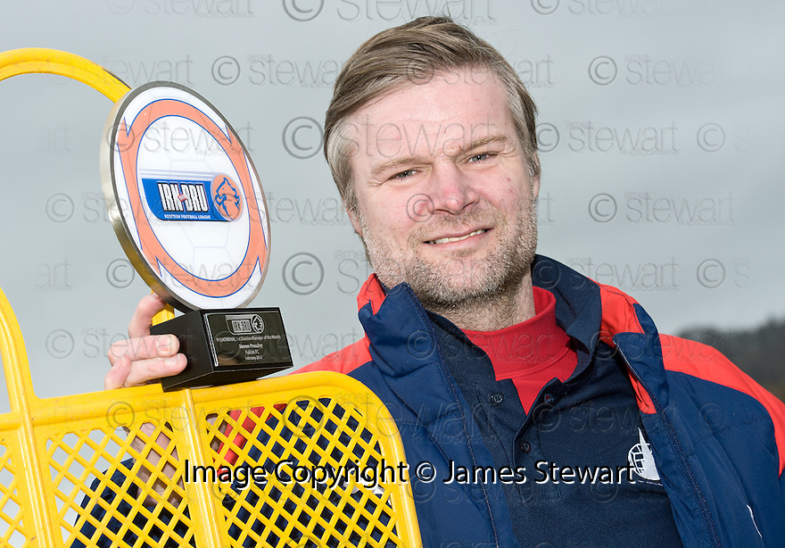 FALKIRK MANAGER STEVEN PRESSLEY WITH HIS 1ST DIVISION MANAGER OF THE MONTH AWARD FOR FEBRUARY 2012.