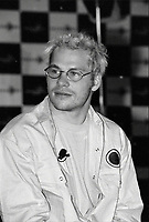 Jacques Villeneuve lors de la conference de presse de l'equipe BAR, <br /> le 9 Juillet 1999<br /> <br /> <br /> July 9 1999 file Photo - Montreal, Quebec, CANADA - Formula One driver Jacques Villeneuve speak at the news conference  for BAR team<br /> <br /> PHOTO : Agence Quebec Presse