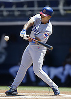 Corey Patterson of the Chicago Cubs bats during a 2002 MLB season game against the San Diego Padres at Qualcomm Stadium, in San Diego, California. (Larry Goren/Four Seam Images)