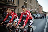 Jelle Vanendert (BEL/Lotto-Belisol) & Tim Wellens (BEL/Lotto-Belisol) to the sign-in<br /> <br /> La Flèche Wallonne 2014