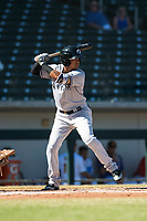 Glendale Desert Dogs shortstop Thairo Estrada (90), of the New York Yankees organization, at bat during an Arizona Fall League game against the Mesa Solar Sox at Sloan Park on October 27, 2018 in Mesa, Arizona. Glendale defeated Mesa 7-6. (Zachary Lucy/Four Seam Images)
