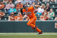 Oklahoma State Cowboys catcher Gage Green #17 runs off of first base during the NCAA baseball game against the Texas Longhorns on April 26, 2014 at UFCU Disch–Falk Field in Austin, Texas. The Cowboys defeated the Longhorns 2-1. (Andrew Woolley/Four Seam Images)