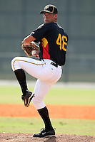 Pittsburgh Pirates minor league pitcher Brandon Cumpton (46) vs. the Toronto Blue Jays during an Instructional League game at Pirate City in Bradenton, Florida;  October 11, 2010.  Photo By Mike Janes/Four Seam Images