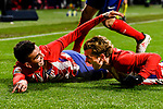 Angel Correa of Atletico de Madrid (L) celebrates after scoring his goal with Antoine Griezmann of Atletico de Madrid (R) during the La Liga 2017-18 match between Atletico de Madrid and Valencia CF at Wanda Metropolitano on February 04 2018 in Madrid, Spain. Photo by Diego Souto / Power Sport Images
