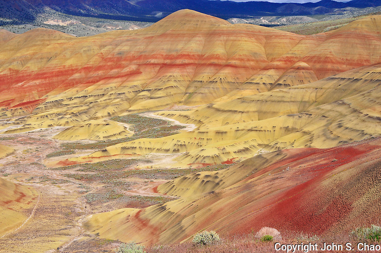 View into the valley below Painted Hills National Monument, central Oregon.