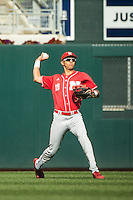 Luis Alvarado (19) of the Nebraska Cornhuskers throws during the 2015 Big Ten Conference Tournament between the Illinois Fighting Illini and Nebraska Cornhuskers at Target Field on May 20, 2015 in Minneapolis, Minnesota. (Brace Hemmelgarn/Four Seam Images)