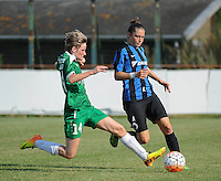 20160827 - AALTER , BELGIUM : Brugge's Tine Blomme (R) and Bercheux's Elodie Michel (L) pictured during the soccer match  in the 2nd round of the  Belgian cup 2017 , a soccer women game between Club Brugge and Football Club Bercheux   ,  Aalter , saturday 27 th August 2016 . PHOTO SPORTPIX.BE / DIRK VUYLSTEKE