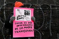 NEW YORK, NEW YORK - MARCH 06: A man take part of a demonstration in support of woman workers on March 06, 2021 in New York. (Photo by John Smith/VIEWpress)