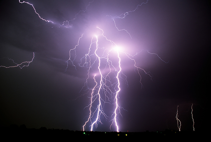 Cloud-to-ground lightning display near El Reno Oklahoma during a late Summer thunderstorm.
