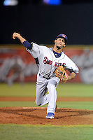 Tennessee Smokies pitcher Frank Batista #27 during a game against the Huntsville Stars on April 16, 2013 at Joe W Davis Municipal Stadium in Huntsville, Alabama.  Tennessee defeated Huntsville 4-3.  (Mike Janes/Four Seam Images)