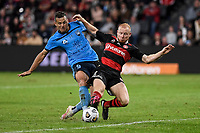 1st May 2021; Bankwest Stadium, Parramatta, New South Wales, Australia; A League Football, Western Sydney Wanderers versus Sydney FC; Ziggy Gordon of Western Sydney Wanderers gets a foot to the ball before Bobo of Sydney