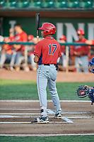 Jordyn Adams (17) of the Orem Owlz bats against the Ogden Raptors at Lindquist Field on August 3, 2018 in Ogden, Utah. The Raptors defeated the Owlz 9-4. (Stephen Smith/Four Seam Images)