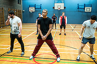 UK. Birmingham. 27th  October 2015<br /> Lions players line up during a  training session<br /> Andrew Testa for  the New York Times