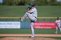 Peoria Javelinas relief pitcher TJ Weir (33), of the San Diego Padres organization, delivers a pitch to the plate during an Arizona Fall League game against the Mesa Solar Sox on October 25, 2017 at Sloan Park in Mesa, Arizona. The Solar Sox defeated the Javelinas 6-3. (Zachary Lucy/Four Seam Images)
