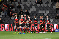 26th May 2021; Bankwest Stadium, Parramatta, New South Wales, Australia; A League Football, Western Sydney Wanderers versus Wellington Phoenix; The Wanderers players watch the big screen to see if VAR rules out the goal from Keanu Baccus of Western Sydney Wanderers goal in the 28th minute but the goal would stand