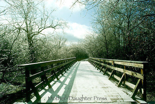 Rails to trails project, MKT trail, on winter day with ice covering, midwest USA- Walking bridge in winter after an ice storm with icicles shining with reflected light on trees and cross bars