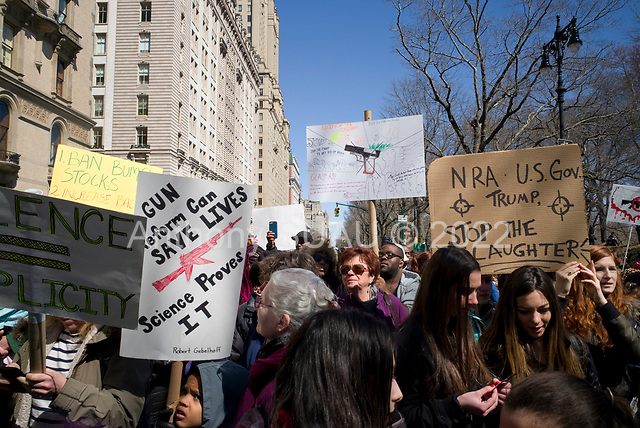 New York, New York<br /> Manhattan<br /> March 24, 2018<br /> <br /> Walk for Our LIfe rally in Manhattan walked from 72nd Street to 44th Street protesting gun control in the United States.
