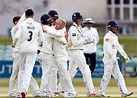 Matt Parkinson (C) of Lancashire is mobbed after he took the wicket of Fred Klaassen during Kent CCC vs Lancashire CCC, LV Insurance County Championship Group 3 Cricket at The Spitfire Ground on 25th April 2021