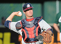 Catcher Evan Gattis (36) of the Rome Braves, Class A affiliate of the Atlanta Braves, prior to a game against the Greenville Drive on July 17, 2011, at Fluor Field at the West End in Greenville, South Carolina. (Tom Priddy/Four Seam Images)