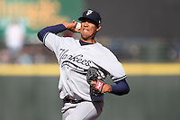 Scranton Wilkes-Barre Yankees starting pitcher Hector Noesi #74 delivers a pitch during a game against the Rochester Red Wings at Frontier Field on April 9, 2011 in Rochester, New York.  Rochester defeated Scranton 7-6 in twelve innings.  Photo By Mike Janes/Four Seam Images