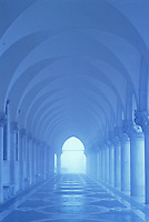 Italy, Venice, Doge's Palace, columns and arches in blue tones