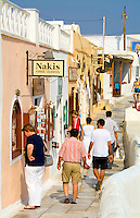 Shoppers on main street, Oia Santorini Greece