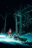 A musher competes in the Midnight Run, part of the UP 200 Sled Dog Race held in the Upper Peninsula of Michigan.