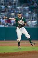 Greensboro Grasshoppers third baseman Brian Schales (43) makes a throw to first base against the Greenville Drive at NewBridge Bank Park on August 17, 2015 in Greensboro, North Carolina.  The Drive defeated the Grasshoppers 5-4 in 13 innings.  (Brian Westerholt/Four Seam Images)
