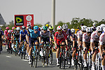 The peloton roll through the intermediate sprint at Al Quadra Cycle Track Stage 6 of the 2021 UAE Tour running 165km from Deira Island to Palm Jumeirah, Dubai, UAE. 26th February 2021.  <br /> Picture: Eoin Clarke   Cyclefile<br /> <br /> All photos usage must carry mandatory copyright credit (© Cyclefile   Eoin Clarke)