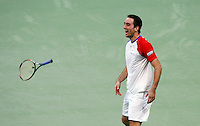Serbian  Davis Cup player Viktor Troicki reacts after wining match against Michael Llodra of France, Davis Cup finals, Serbia vs France in Belgrade Arena in Belgrade, Serbia, Sunday, 5. December 2010. (credit & photo: Pedja Milosavljevic/SIPA PRESS)
