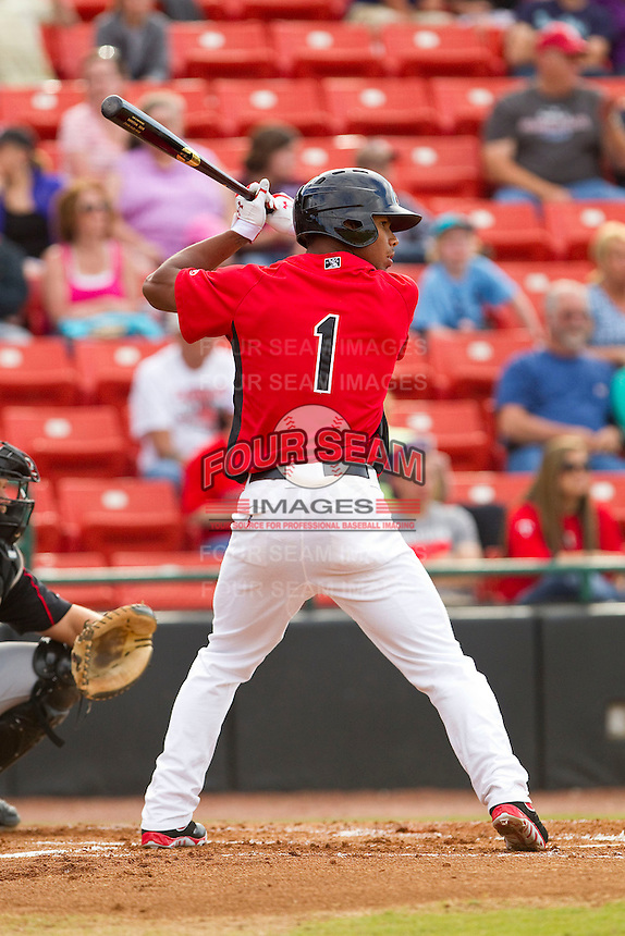 Nick Williams (1) of the Hickory Crawdads at bat against the Kannapolis Intimidators at L.P. Frans Stadium on May 25, 2013 in Hickory, North Carolina.  The Crawdads defeated the Intimidators 14-3.  (Brian Westerholt/Four Seam Images)