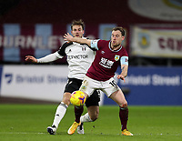 17th February 2021; Turf Moor, Burnley, Lanchashire, England; English Premier League Football, Burnley versus Fulham; Ashley Barnes of Burnley competes for the ball with Joachim Andersen of Fulham