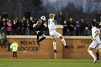 WINSTON-SALEM, NC - DECEMBER 07: Kyle McCurley #20 of Wake Forest University and Finn Ballard McBride #13 of the University of California Santa Barbara challenge for a header during a game between UC Santa Barbara and Wake Forest at W. Dennie Spry Stadium on December 07, 2019 in Winston-Salem, North Carolina.
