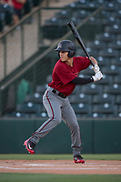 AZL Diamondbacks left fielder Alek Thomas (5) at bat during an Arizona League game against the AZL Angels at Tempe Diablo Stadium on June 27, 2018 in Tempe, Arizona. The AZL Angels defeated the AZL Diamondbacks 5-3. (Zachary Lucy/Four Seam Images)