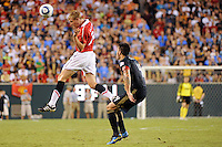 Darren Fletcher (24) of Manchester United heads the ball. Manchester United (EPL) defeated the Philadelphia Union (MLS) 1-0 during an international friendly at Lincoln Financial Field in Philadelphia, PA, on July 21, 2010.