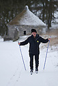 29/01/15<br /> <br /> David Orchard skis along the Tissington Trail - a route normally used by cyclists and walkers - at Parsley Hay, near Hartington in the Derbyshire Peak District.<br /> <br /> All Rights Reserved - F Stop Press.  www.fstoppress.com. Tel: +44 (0)1335 418629 +44(0)7765 242650