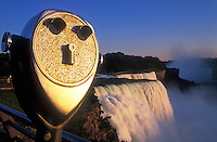USA, New York, Niagara Falls, American Falls, viewing telescope illuminated by warm sunlight