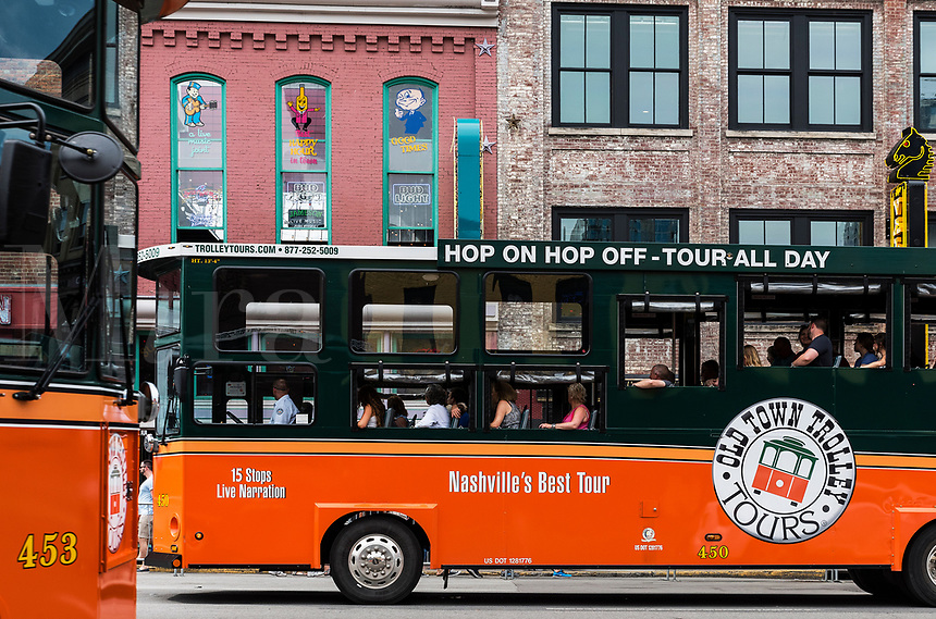 Old Town Trolly tours of downtown Nashville, Tennessee, USA.