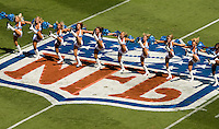 09/16/07 :  Carolina Panthers cheerleaders rally the crowds in Bank of America stadium during the Panthers' 2007 season opener against the Houston Texans.  ...The Carolina Panthers, professional American NFL football team that represents both North Carolina and South Carolina, is based in Charlotte, North Carolina. The Panthers began playing in 1995 as part of the National Football League?s expansion program. They are members of the National Football Conference (NFC) South Division. They play in the Bank of America Stadium, located in downtown Charlotte.