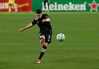 20th November 2020, Nashville, TN, USA;  Inter Miami midfielder Lewis Morgan clears the ball during an MLS Cup Playoffs Eastern Conference Play-In game between Nashville SC and Inter Miami, November 20, 2020 at Nissan Stadium