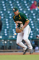 Baylor Bears third baseman Cal Towey #18 makes an error against the Houston Cougars in the NCAA baseball game on March 2, 2013 at Minute Maid Park in Houston, Texas. Houston defeated Baylor 15-4. (Andrew Woolley/Four Seam Images).