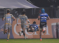 8th January 2021; Recreation Ground, Bath, Somerset, England; English Premiership Rugby, Bath versus Wasps; Cameron Redpath of Bath dives over as he scores a try