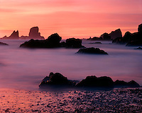 Sunset light on the surf at Crescent Beach; Ecola State Park, OR