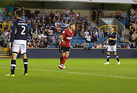Martyn Waghorn of Ipswich Town celebrates after scoring  his side's 3rd goal to make it 2-3 during the Sky Bet Championship match between Millwall and Ipswich Town at The Den, London, England on 15 August 2017. Photo by Alan  Stanford / PRiME Media Images.