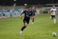 SAN JOSE, CA - OCTOBER 07: Cristian Espinoza #10 of the San Jose Earthquakes during a game between Vancouver Whitecaps and San Jose Earthquakes at Earthquakes Stadium on October 07, 2020 in San Jose, California.