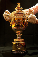 The Men's trophy presented to the winner of The Gentlemen's Singles at Wimbledon, The All England Lawn Tennis Club (AELTC), London...